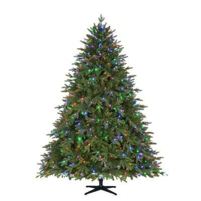 7.5 ft. Pre-Lit LED Monterey Fir PE Quick-Set Artificial Christmas Tree with 700 Color Changing Lights and Remote