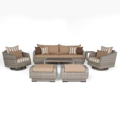 Cannes 8-Piece All-Weather Wicker Patio Deluxe Sofa and Club Chair Conversation Set with Maxim Beige Cushions