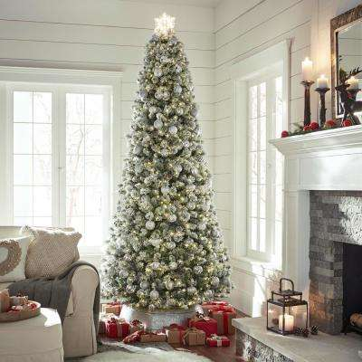 9 ft. Pre-Lit LED Banff Pine Flocking Quick Set Artificial Christmas Tree with 1000 Warm White Lights