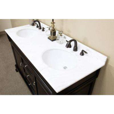Cambridge Es 60 in. Double Vanity in Espresso with Marble Vanity Top in White