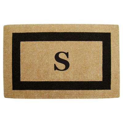 Single Picture Frame Black 30 in. x 48 in. HeavyDuty Coir Monogrammed S Door Mat