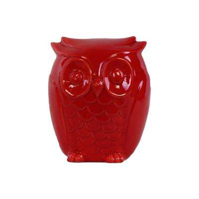 6.25 in. H Owl Decorative Figurine in Red Gloss Finish