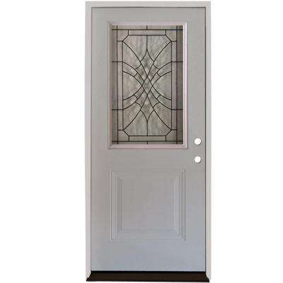 Webville 1/2 Lite Primed White Steel Prehung Front Door