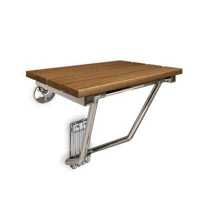 20 in. x 14 in. Natural Teak Wood Folding Seat in Chrome - ADA Compliant