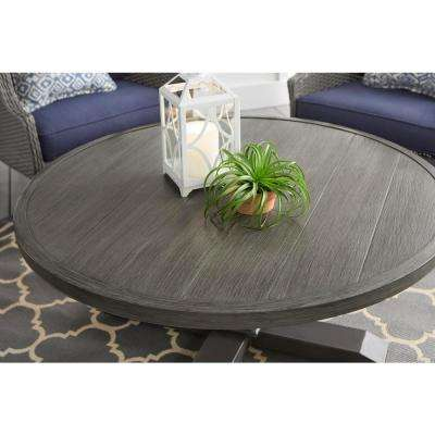 43 in. Grayson Ash Gray Round Steel Outdoor Patio Coffee Table