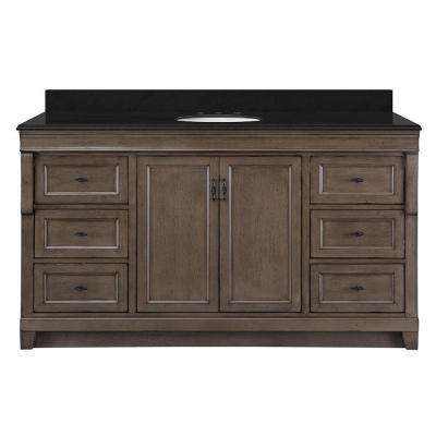 Naples 61 in. W x 22 in. D Vanity in Distressed Grey with Granite Vanity Top in Black with White Basin