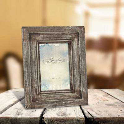 1-Opening 4 in. x 6 in. Brown Weathered Wood Picture Frame