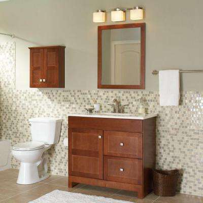 Artisan 36.5 in. W Bath Vanity in Chestnut with Cultured Marble Vanity Top in White with White Sink