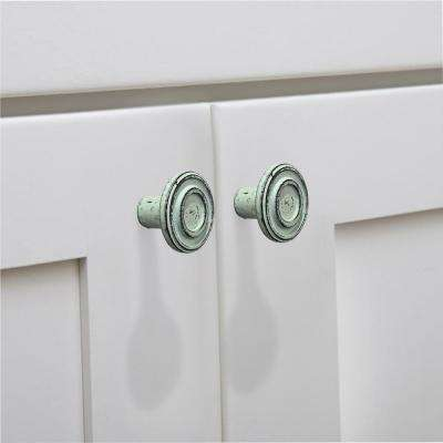 Ringed 1-1/2 in. (38 mm) Distressed Grey Patina Cabinet Knob