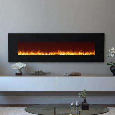 Skyline 72 in. Skyline Pebble Electric Wall Mounted Fireplace in Black