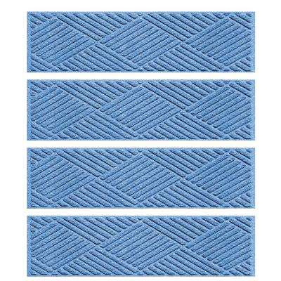 Medium Blue 8.5 in. x 30 in. Diamonds Stair Tread (Set of 4)