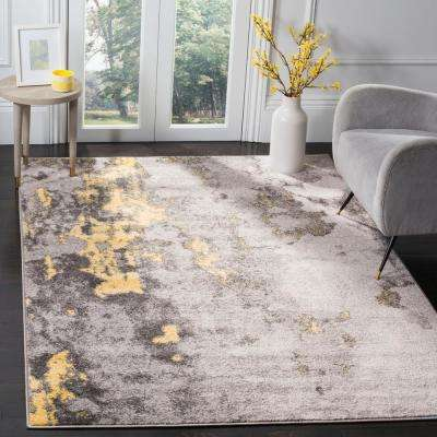Adirondack Gray/Yellow 6 ft. x 6 ft. Square Area Rug