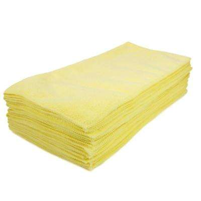 16 in. x 16 in. Yellow Microfiber Cleaning Towel (48-Pack)
