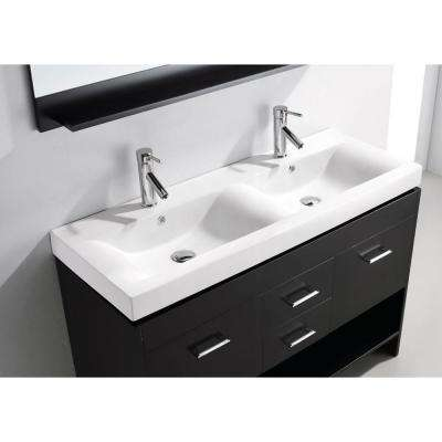 Gloria 48 in. W Bath Vanity in Espresso with Ceramic Vanity Top in White Ceramic with Square Basin and Mirror and Faucet
