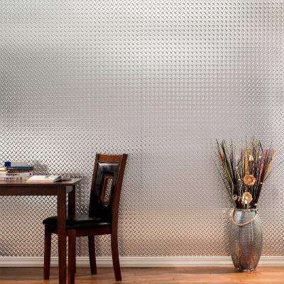 Diamond Plate 96 in. x 48 in. Smoked Pewter Vinyl Decorative Wall Panel