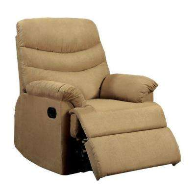Clive Microfiber Recliner in Light Brown
