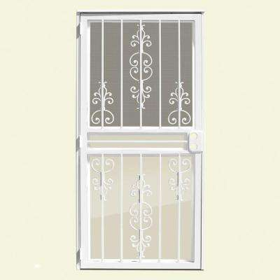30 in. x 80 in. Estate White Recessed Mount All Season Security Door with Insect Screen and Glass Inserts