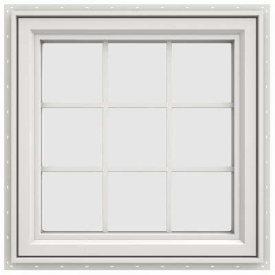 29.5 in. x 29.5 in. V-4500 Series Left-Hand Casement Vinyl Window with Grids - White