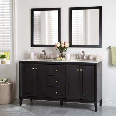 Austell 61 in. W x 22 in. D Bathroom Vanity in Black with Stone Effects Vanity Top in Winter Mist with White Sink