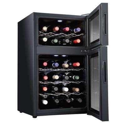 24 Bottle Dual Zone Thermoelectric Freestanding Wine Cooler/Fridge - Black