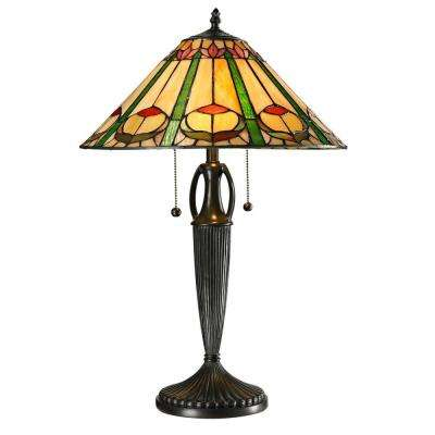 Quill 24 in. Tiffany 2-Light Antique Bronze Table Lamp
