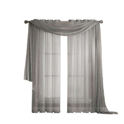 Diamond Sheer Voile 56 in. W x 216 in. L Curtain Scarf in Gray