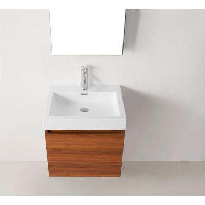 Zuri 24 in. W Bath Vanity in Plum with Polymarble Vanity Top in White Polymarble with Square Basin