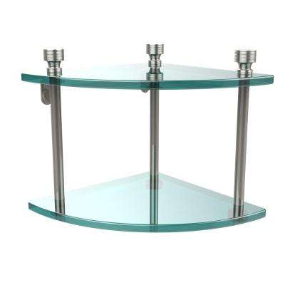 Foxtrot Collection 8 in. 2-Tier Corner Glass Shelf in Polished Nickel