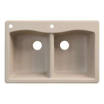 Aversa Top Mount Granite 33 in. 2-Hole Equal Double Bowl Kitchen Sink in Cafe Latte