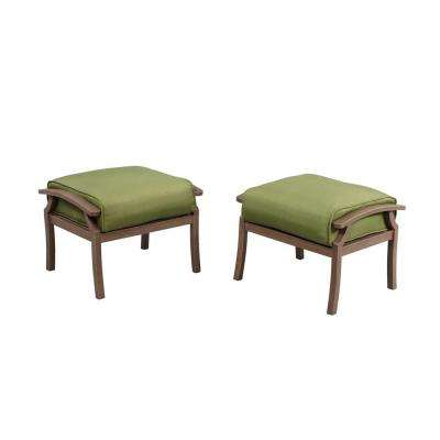 Bloomfield Woven Patio Ottoman with Moss Cushion (2-Pack)