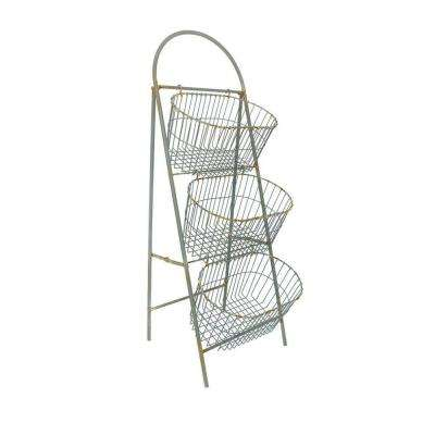 Whitney 3-Tier 45.5 in. H Light Grey Storage Basket