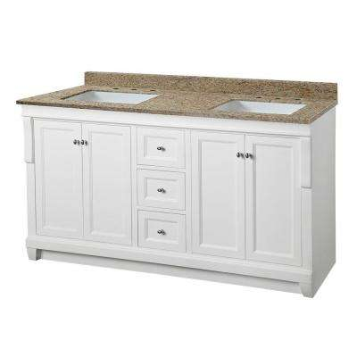 Naples 61 in. W x 22 in. D Double Vanity in White with Granite Vanity Top in Ornamental Giallo and White Basins