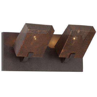 Gold Rush 2-Light Rustic Bronze Vanity with Recycled Steel Mesh Shade