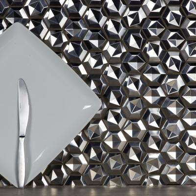 Enchanted Metals Silver 3D Hexagon Mosaic 2 in. x 2 in. Stainless Steel Mesh Mounted Wall Tile (1 Sq. ft.)