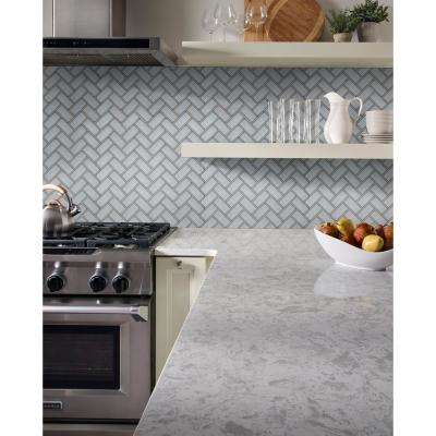 Ice Bevel Herringbone 11.08 in. x 13.86 in. x 8mm Glass Mesh-Mounted Mosaic Tile (10.6 sq. ft. / case)