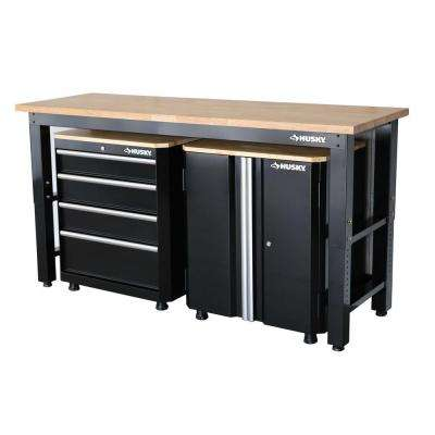 42 in. H x 72 in. W x 24 in. D Steel Garage Cabinet Set in Black (3-Piece)