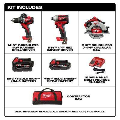 M18 18-Volt Lithium-Ion Brushless Cordless Hammer Drill/Impact/Circular Saw Combo Kit (3-Tool) with 2-Batteries