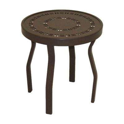 Marco Island 18 in. Dark Cafe Brown Round Commercial Aluminum Patio Side Table
