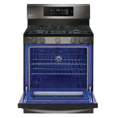 5.4 cu. ft. Gas Range with Self-Cleaning in Black Stainless Steel