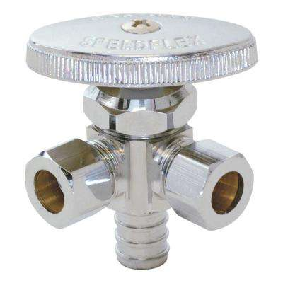 1/2 in. PEX x 3/8 in. Compression x 3/8 in. Compression Dual Outlet Stop Valve