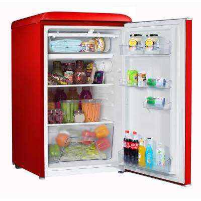 3.5 cu. ft. Retro Mini Refrigerator Single Door Fridge Only in Red