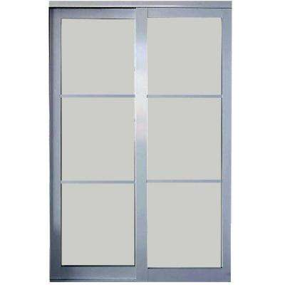 Eclipse 3-Lite Mystique Glass Satin Clear Finish Aluminum Interior Sliding Door