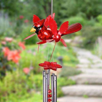 Red Cardinal Spinning Wings Metal Wind Chimes