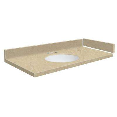 54.5 in. - 58.5 in. W x 22.25 in. D Solid Surface Vanity Top