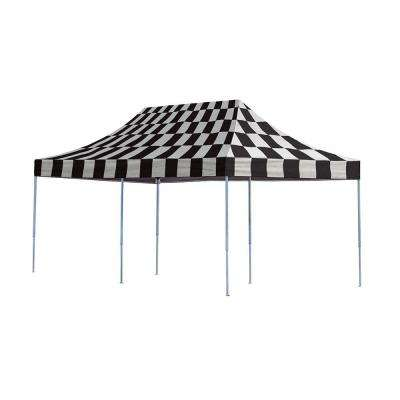 Pro Series 10 ft. x 20 ft. Checkered Flag Straight Leg Pop-Up Canopy