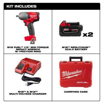 M18 FUEL 18-Volt Lithium-Ion Brushless Cordless Mid Torque 1/2 in. Impact Wrench W/Friction Ring Kit W/(2) 5.0Ah Battery