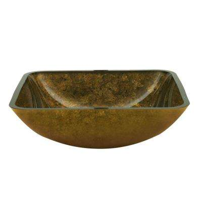 Fused Warm Glass Vessel Sink in Antique Gold