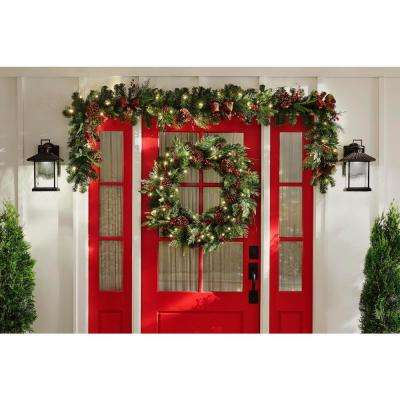 36 in. Pre-Lit LED Artificial Christmas Wreath with Pine Cones and Berries