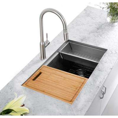 All-in-One Undermount Stainless Steel 32 in. Single Bowl Kitchen Workstation Sink with Accessories Kit