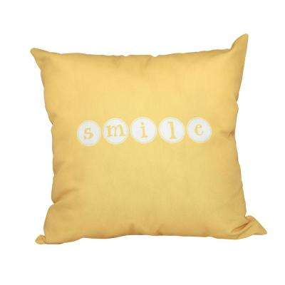 16 in. x 16 in. Yellow Smile Word Print Pillow